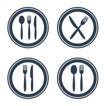 Plate fork spoon and knife icons on white background. Vector illustration Vettoriali