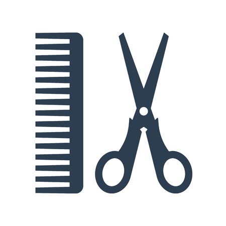 A hair salon with scissors and comb icon on white background. Vector illustration