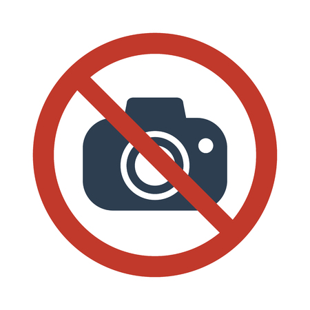 No camera icon on white background vector illustration.