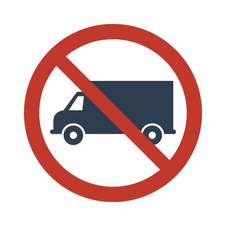 No truck or no parking sign on white background. Vector illustration Illustration