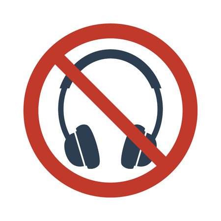 No headphones signs on white background vector illustration.