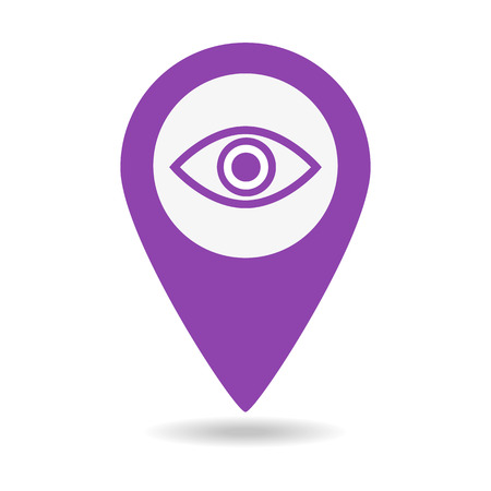 Map pin symbol with Eye icon on white background. Vector illustration
