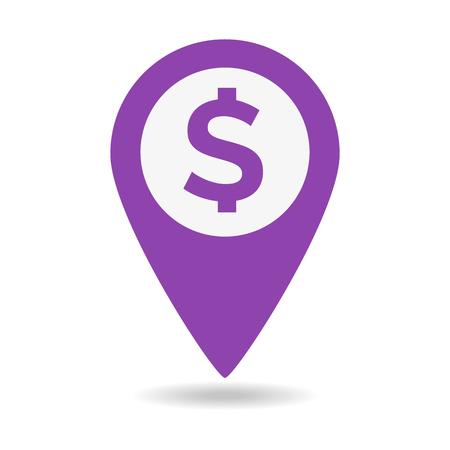 Dollar Map Marker icon on white background. Vector illustration