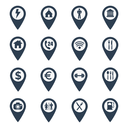 Map pin location icons set on white background. Vector illustration