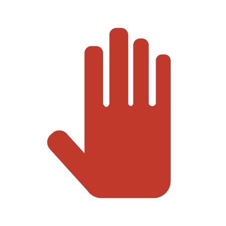 Stop hand sign on white background. Vector illustration