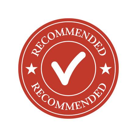 Recommended red flat badge on white background. Vector illustration Illustration