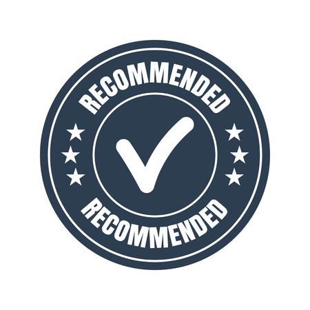 Recommended black flat badge on white background. Vector illustration Illustration