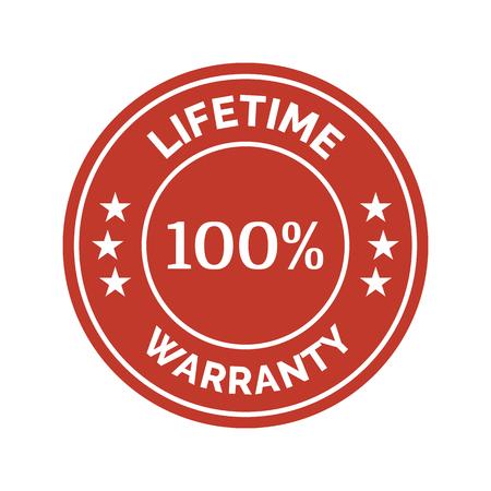 Lifetime warranty flat badge on white background. Vector illustration Illustration