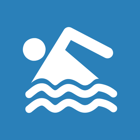 Swimming icon in silhouette on blue background.