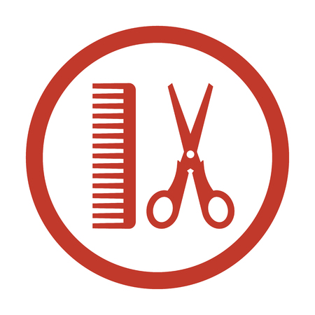 Hair salon with scissors and comb icon on white background. Vector illustration