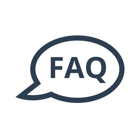 FAQ icon on white background. Vector illustration.