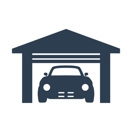 Car garage icon on white background vector illustration.