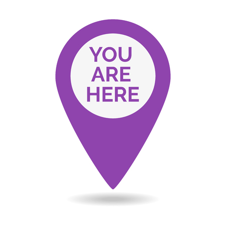 Marker location icon with you are here. Vector illustration.