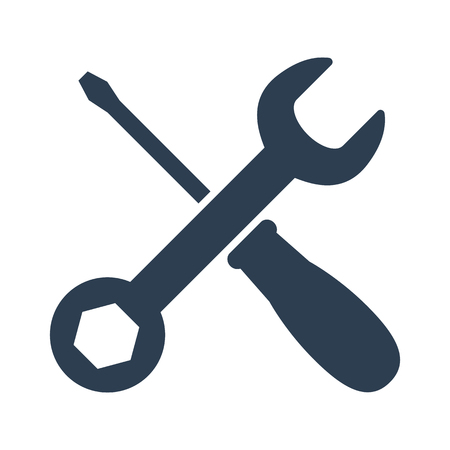 wrench and screwdriver icon on white background. Vector illustration