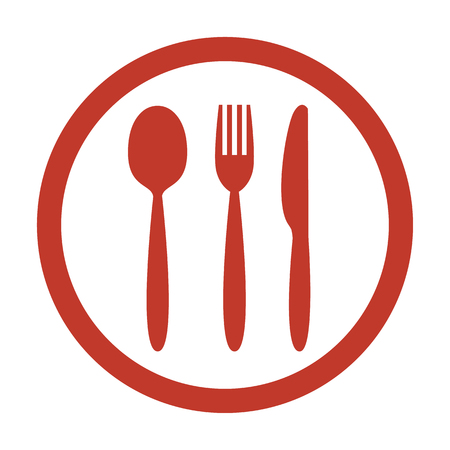 Knife, fork and spoon on white background vector illustration.