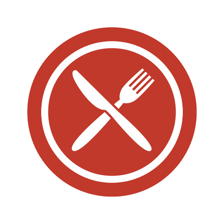 Plate, fork and knife on white background. Vector illustration Иллюстрация