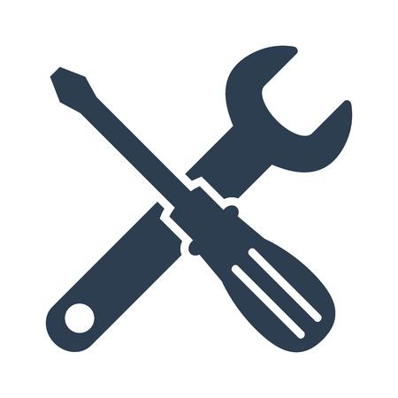 icona chiave inglese e cacciavite su sfondo bianco. Illustrazione vettoriale