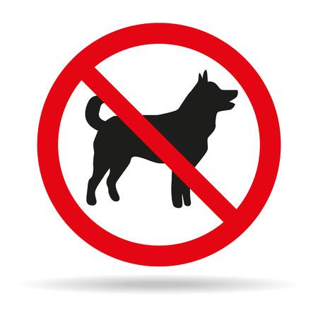 No dog sign on white background. Vector illustration