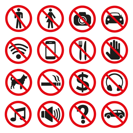 Prohibition signs set safety on white background. Vector illustration Ilustracja