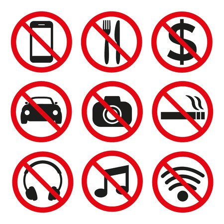 Prohibition signs set safety on white background. Vector illustration Illustration