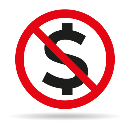 No Money sign on white background. Vector illustration
