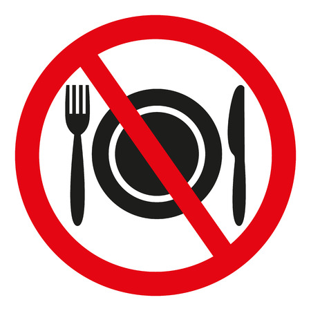 No Food Sign on white background. Vector illustration  イラスト・ベクター素材
