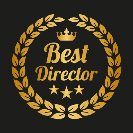 Best director laurel wreath on black background. Vector Illustration