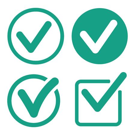 Icone del segno di spunta messe su fondo bianco. Illustrazione vettoriale