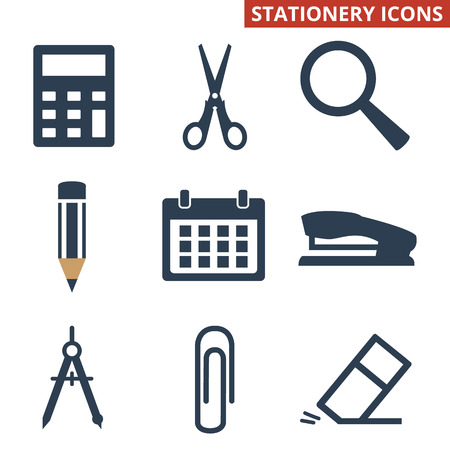 Stationery icons set on white background. Vector illustration