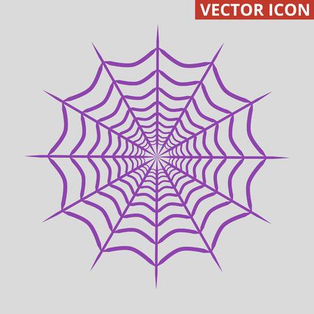 Spider web icon on grey background. Vector illustration