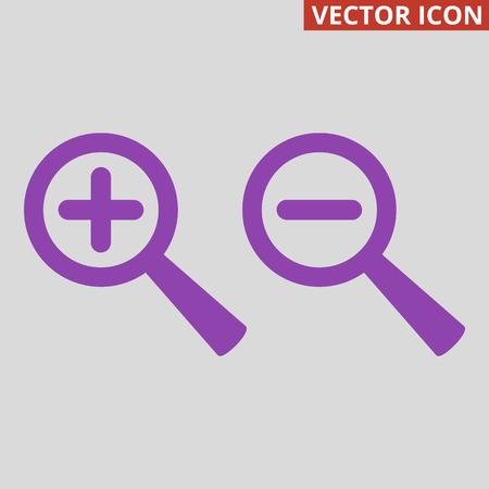 Zoom icon on grey background. Vector illustration