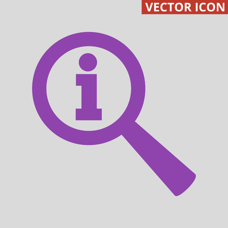 Magnifier info icon on grey background. Vector Illustration Illustration