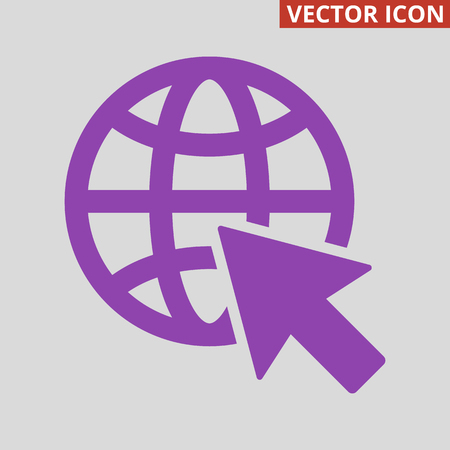 Go to web icon on grey background. Vector illustration