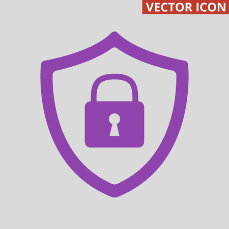 Security icon on grey background. Vector Illustration