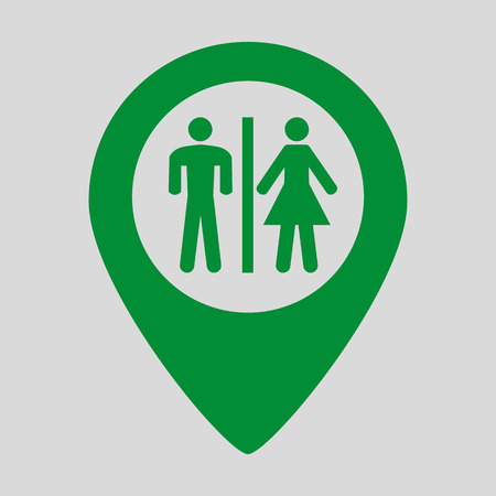 Restroom map pointer icon on grey background. Vector illustration Illustration