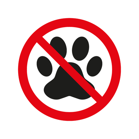 No pets sign on white background. Vector illustration