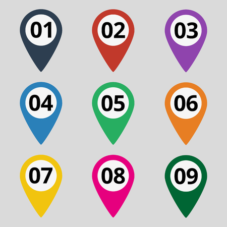 Flat map markers with numbers. Vector illustration