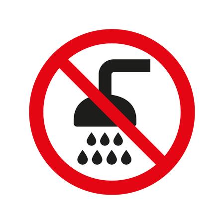 No shower sign on white background. Vector illustration