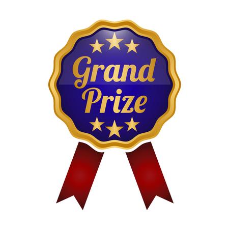 Grand Prize medal label on white background. Vector illustration
