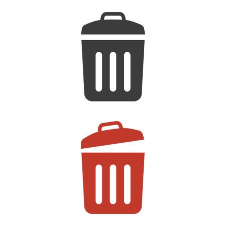 Trash bin icons on white background. Vector illustration