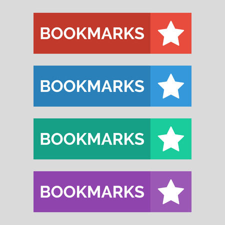 Bookmarks flat buttons on grey background. Vector illustration