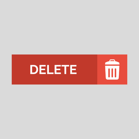 Delete flat button on grey background. Vector illustration