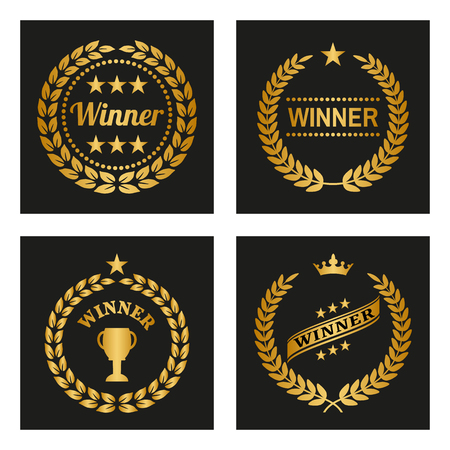 Set of winner golden laurel wreaths. Vector Illustration
