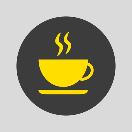 Coffee cup icon on gray background. Vector illustration