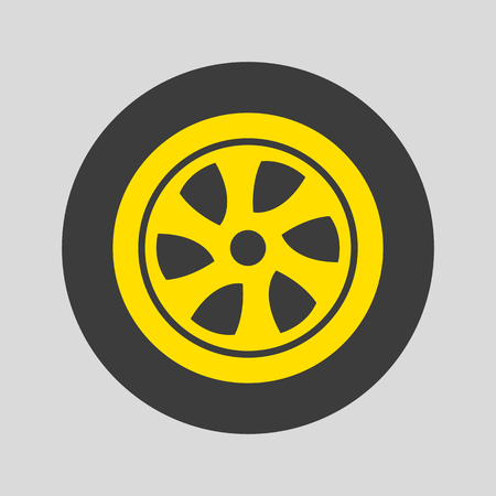 Car wheel icon on gray background. Vector illustration