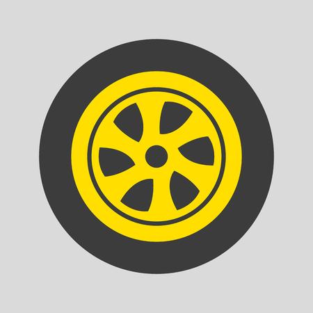 Car wheel icon on gray background. Vector illustration