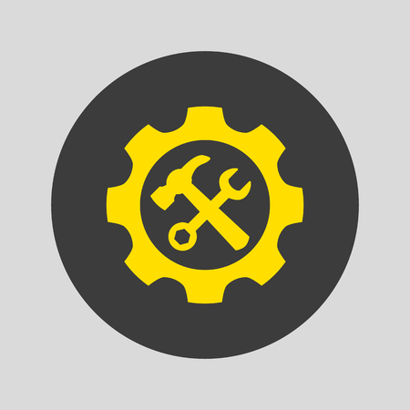 Service tool icon on gray background. Vector illustration