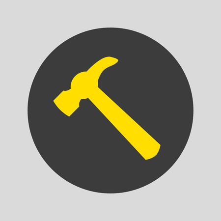 Hammer icon on gray background. Vector Illustration