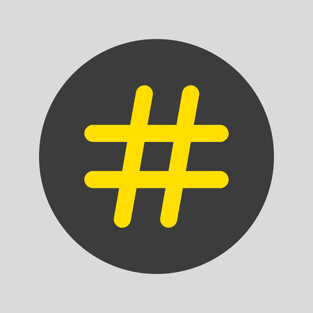 Hashtag icon on grey background. Vector illustration