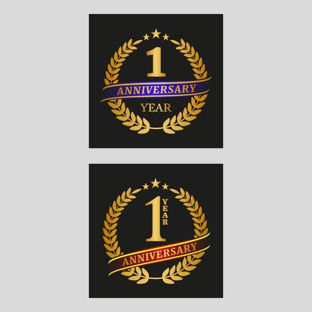 Anniversary one year golden laurel wreath. Vector illustration